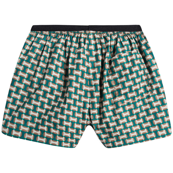 Baby Emerald Geo Print Cotton Shorts