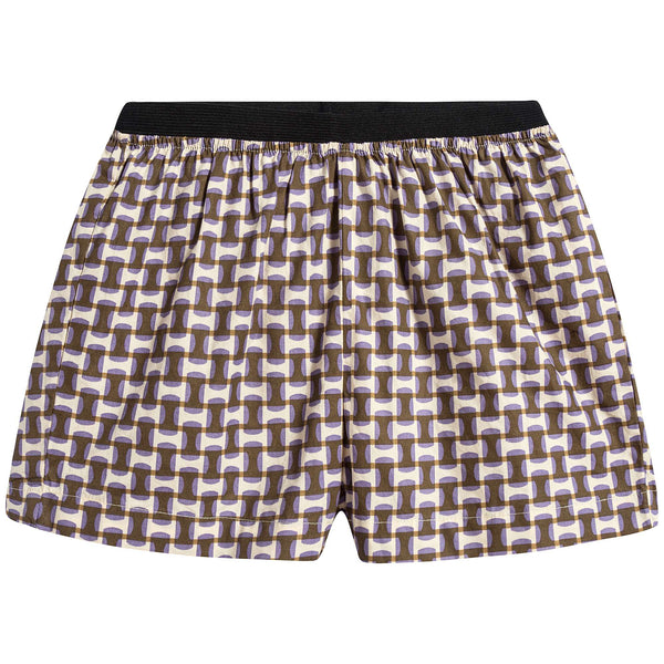 Baby Lilac Geo Print Cotton Shorts