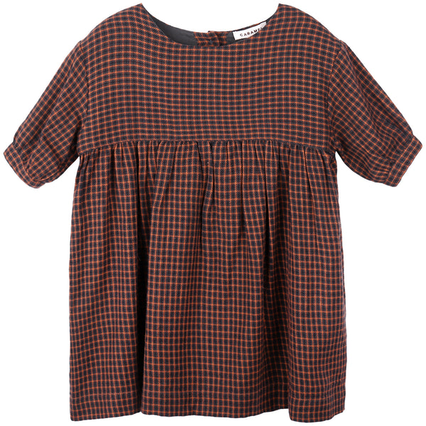 Baby Girls Orange Check Cotton Woven Dresses