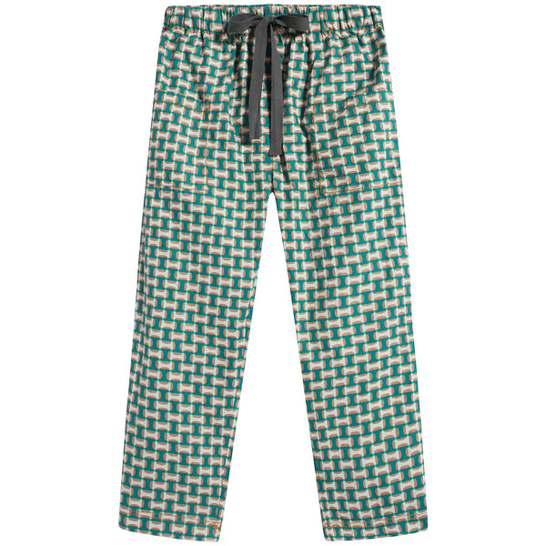 Girls Emerald Prlnt Cotton Trousers