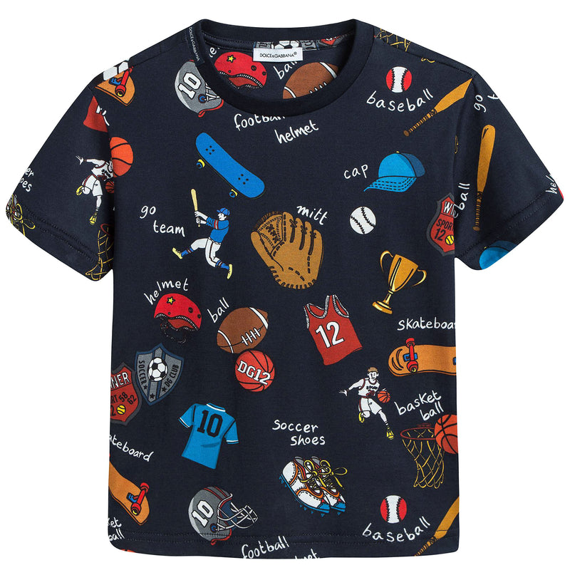 Boys Navy Blue Sport Printed Jersey T-shirt
