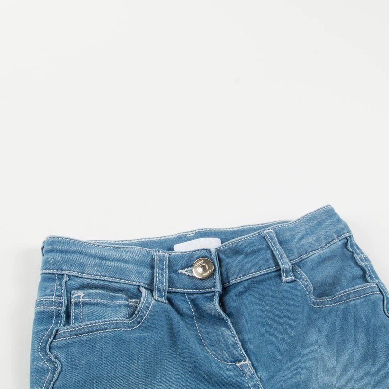 Girls Denim Blue Cotton Trousers