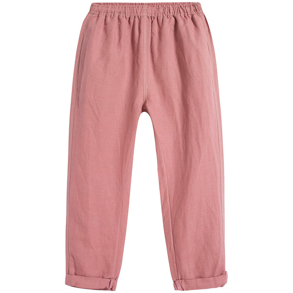 Girls Brick Red Linen Trousers