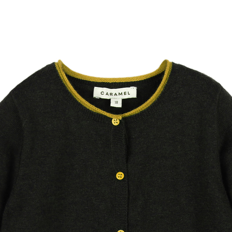 Baby Black Knitted Cardigan With Yellow Bottons