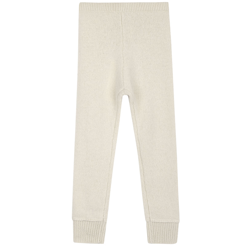 Girls Ivory Knitted Leggings