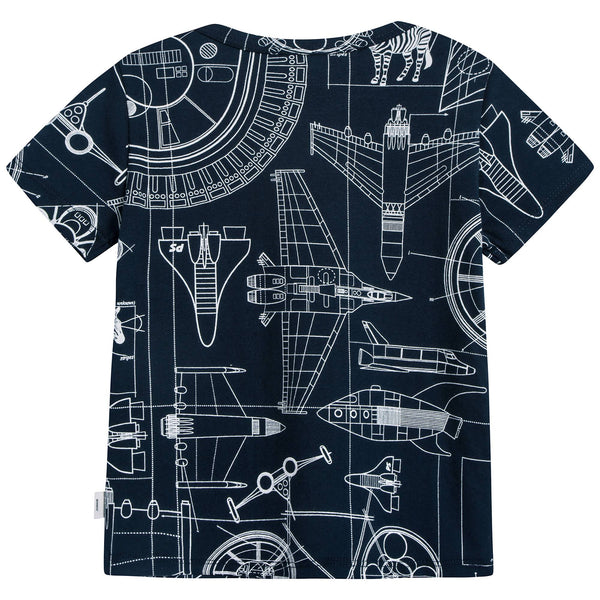 Boys Navy Printed Cotton T-shirt