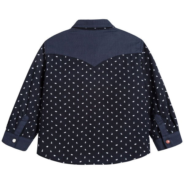 Baby Boys Navy Cotton Shirt