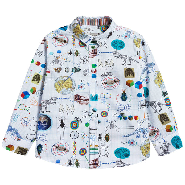 Boys White Printed Cotton Shirt