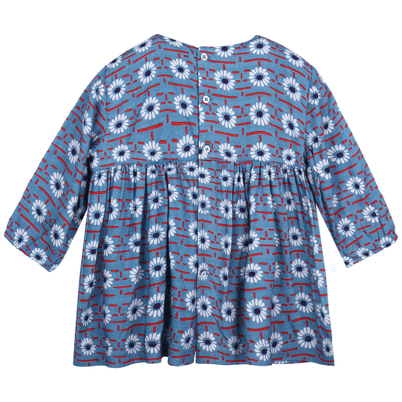 Baby Girls Blue Daisy Printed Viscose Dresses