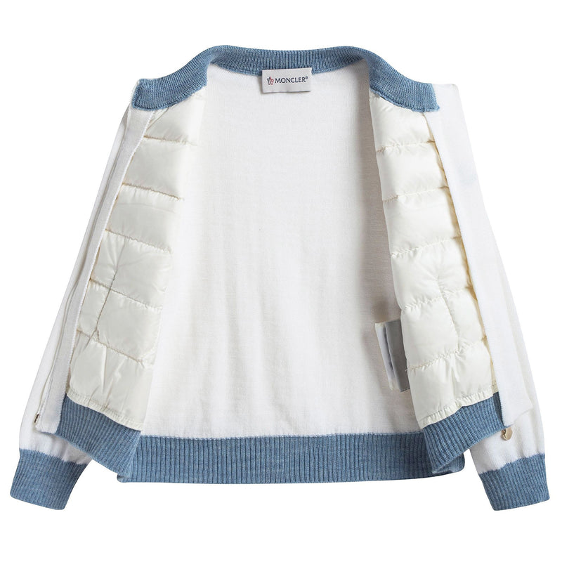 Baby Girls White Down Padded Cardigan With Blue Trim