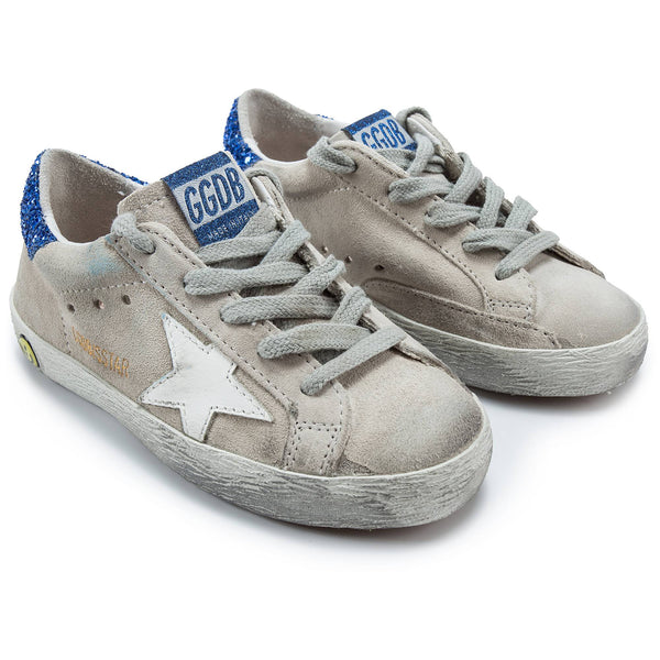 Girls White Suede Blue Glitter Cow Leather Sneakers