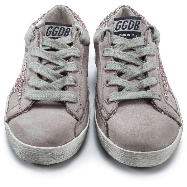 Girls Grey Cow Leather Sneakers