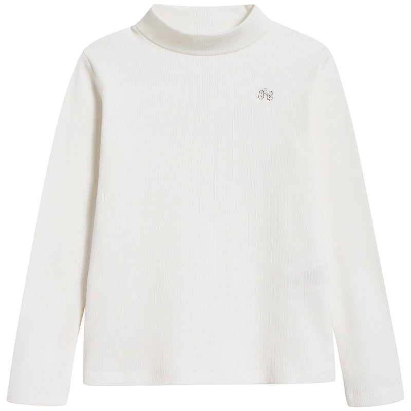 Girls White Cotton Pullover