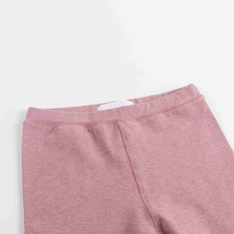 Girls Pink Cotton Leggings With Check Cuffs