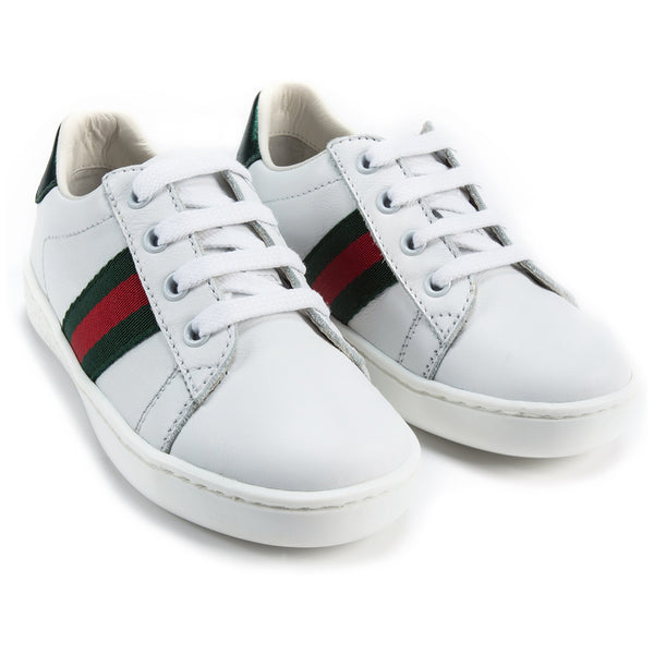 Girls & Boys White Leather Shoes