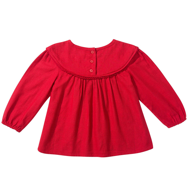 Girls Red Cotton Blouse
