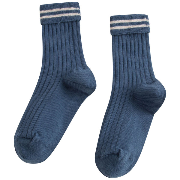 Girls Airforce Blue Cotton Rib Ankle Socks