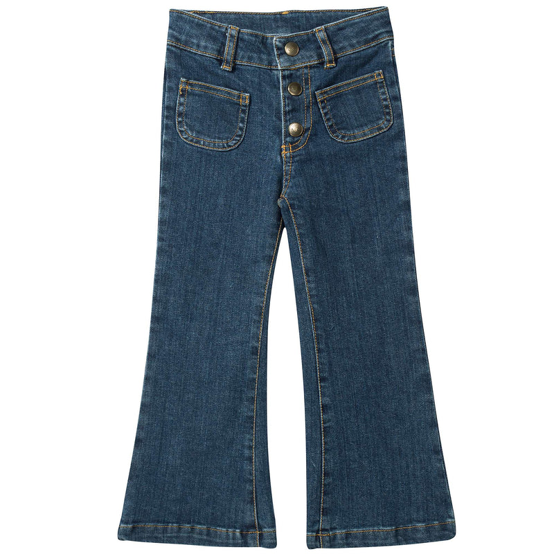 Girls Blue Denim Cotton Trousers