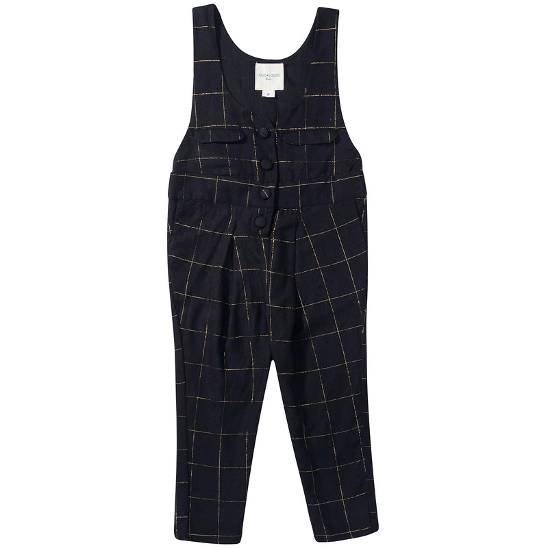 Girls Black Big check gold Overall Trousers