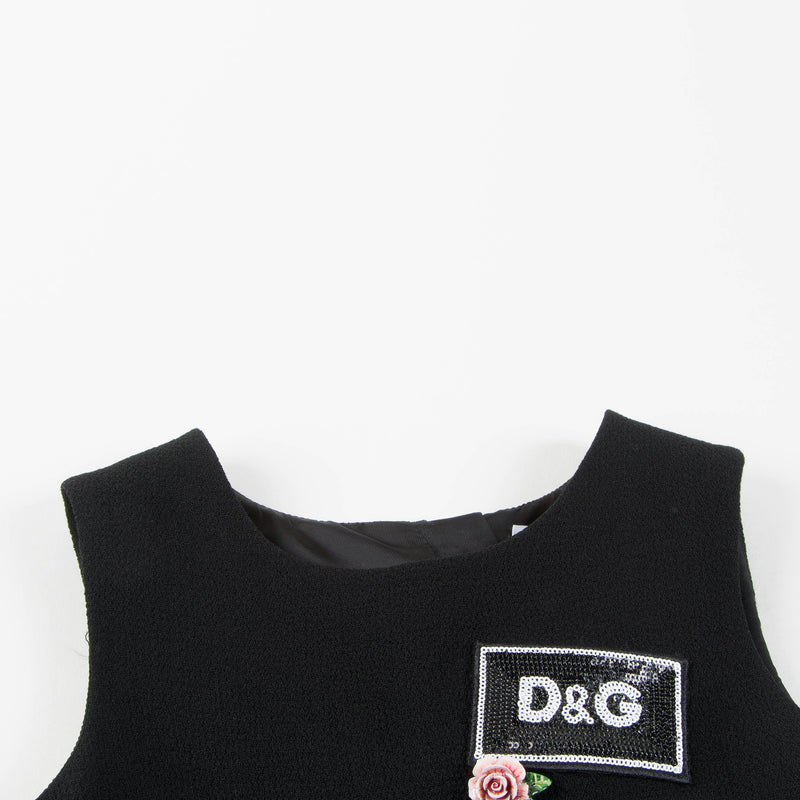 "Girls Black ""DG"" Wool Dress"