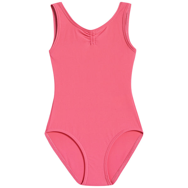 Girls Pink Doll Ruched Leotard And Wide Straps
