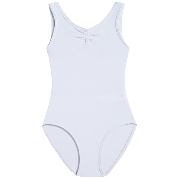 Girls White Ruched Leotard And Wide Straps