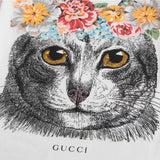 Girls White Cat Printed Trims Cotton T-Shirt