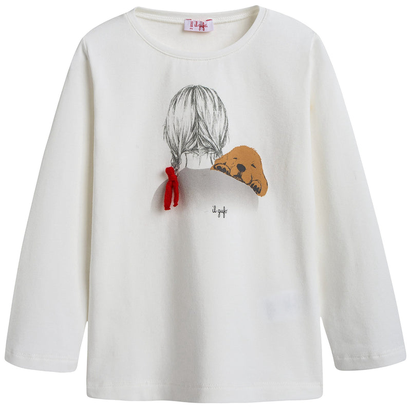 Girls Ivory Cotton T-shirt with Red Bow