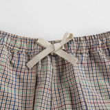 Girls Beige Check Cotton Trousers