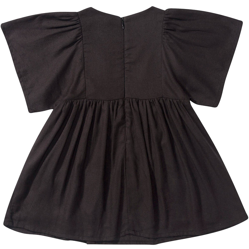 Girls Black Embroidered  Cotton Dress