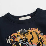 Boys & Girls Navy Blue Cotton Tiger Head Trims Sweashirt