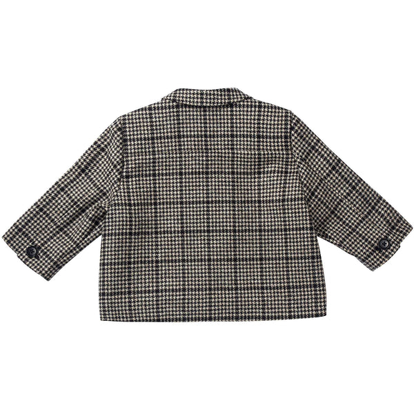 Baby Black Houndstooth  Wool  Coat