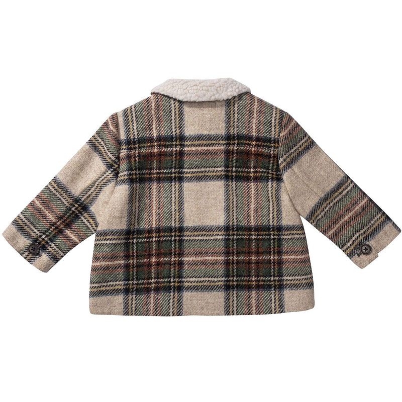 Baby Beige Check  Wool  Coat