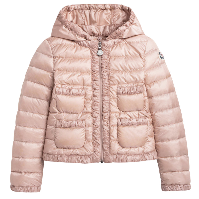 Girls Bright Pink Down Padded Hooded  'Flavienne' Jacket With Frilly Cuffs