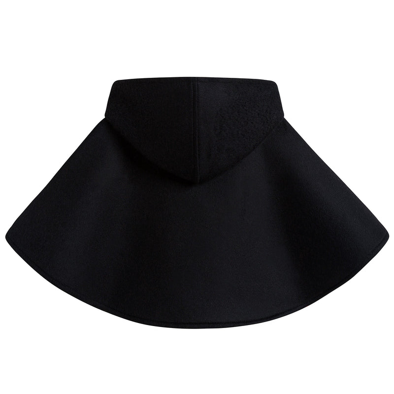 Baby Girls Black Hooded Wool Cape