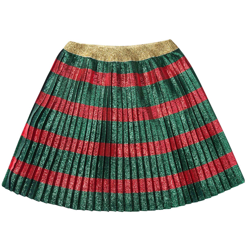 Girls Green & Red Striped Pleated Skirt