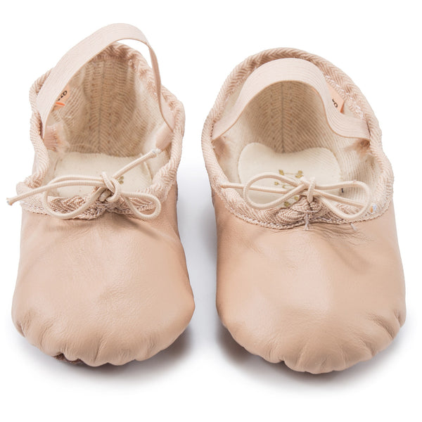 Girls Beige Leather Cowhide Shoes