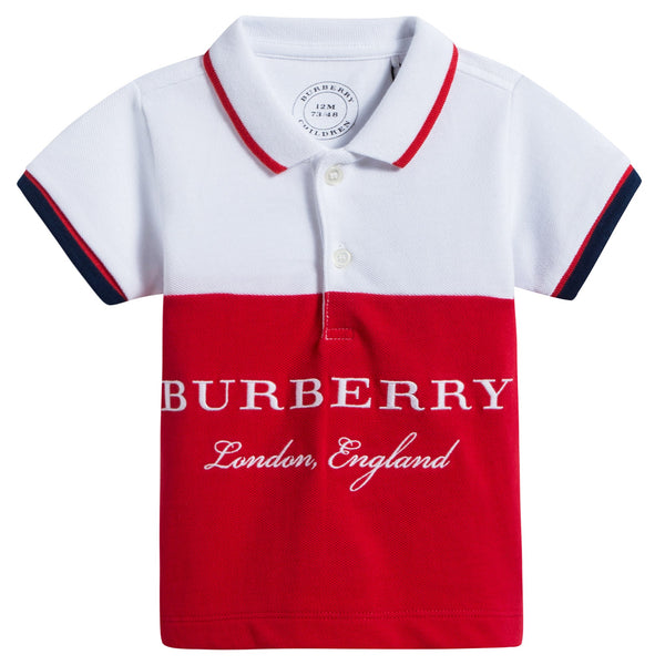 Baby Boys Bright Oringe Red Cotton Polo T-Shirt