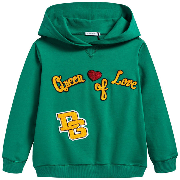 Boys&girls Green Embroidered Cotton Coat