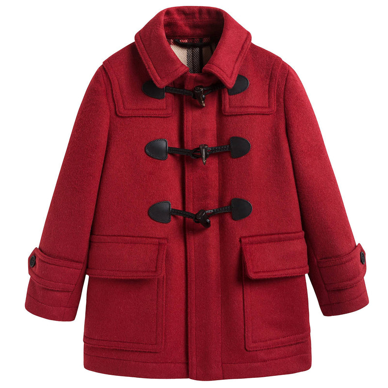 Boys & Girls Red Wool Duffle Coat