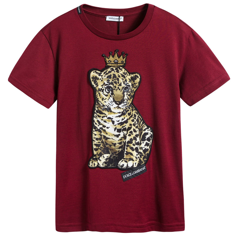 Girls & Boys Dark Red Tiger Cotton T-shirt