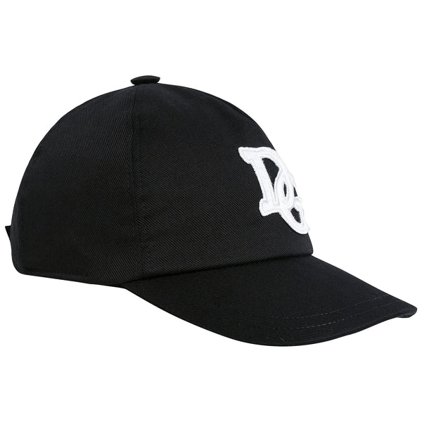 Boys & Girls Black Logo Printed Cotton Cap