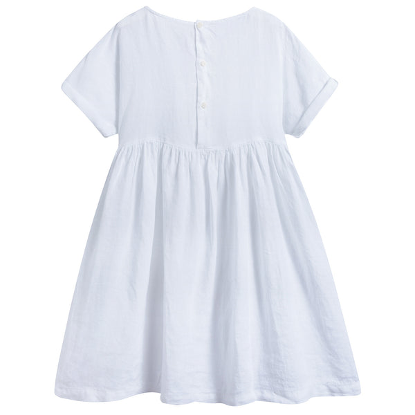Girls White Linen Dress