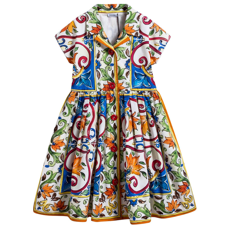 "Girls Blue & Green ""Maiolica"" Dress"