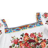 Girls White Rose Printed Top