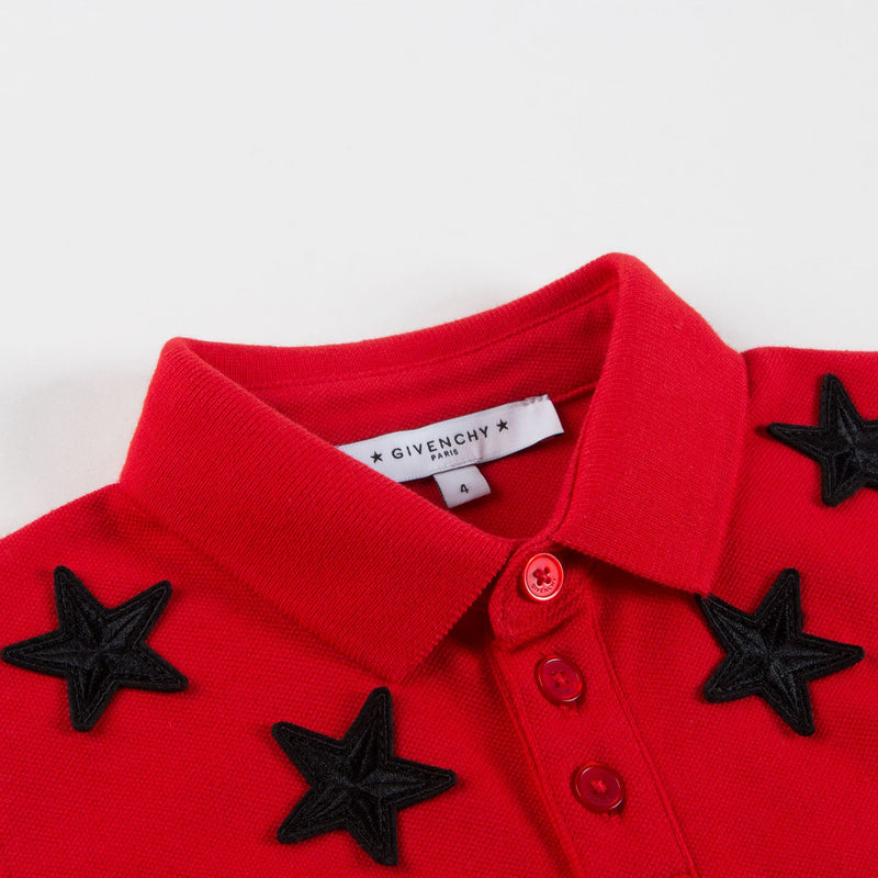 Boys Red Stars Printed Polo Shirt