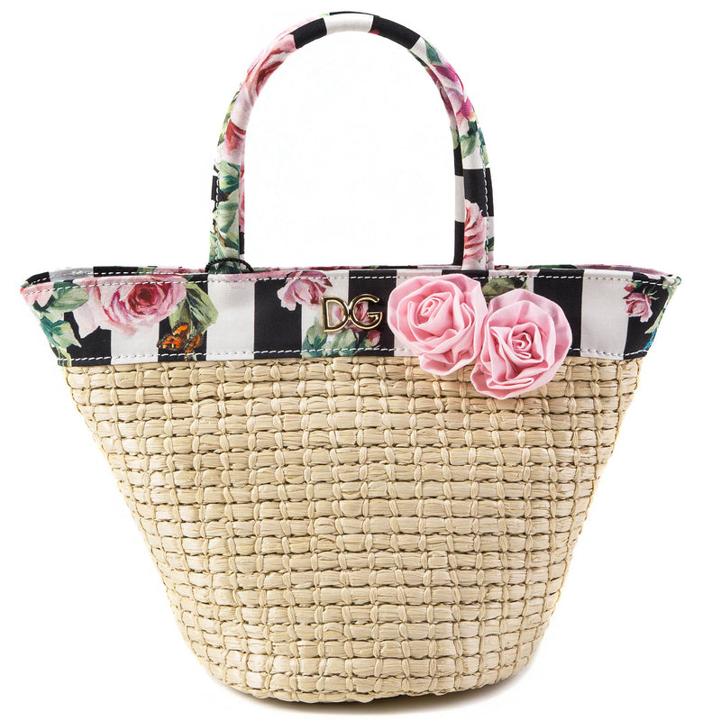 Girls Beige Rose Weave Handbag
