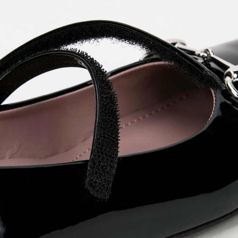 Girls Black Patent Leather Horsebit Shoes