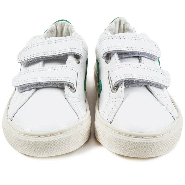 Baby  White   Leather Velcro   With  Green