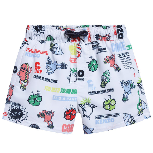 Boys White Printed Polyester Swimming Trunks